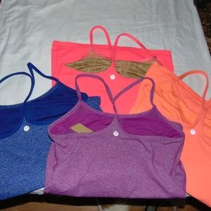 lululemon lot of 4 power y tanks  size 6 small